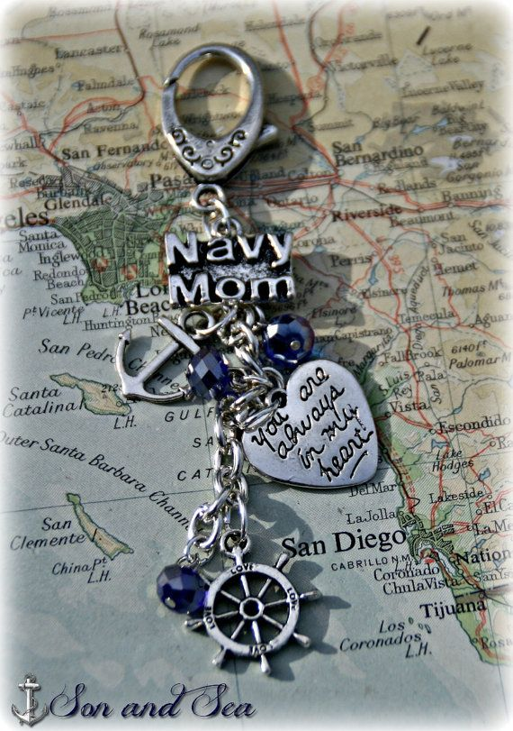 US Navy mom charm key or purse clip by Son and Sea free deployment US shipping