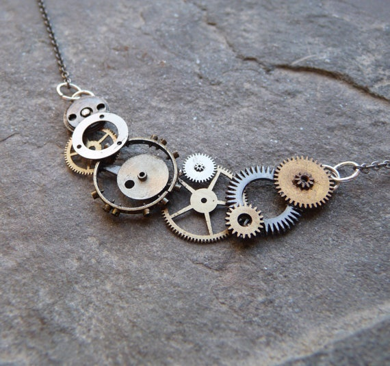 listing gear pendant like il item this with clock brass clockwork necklace brushed