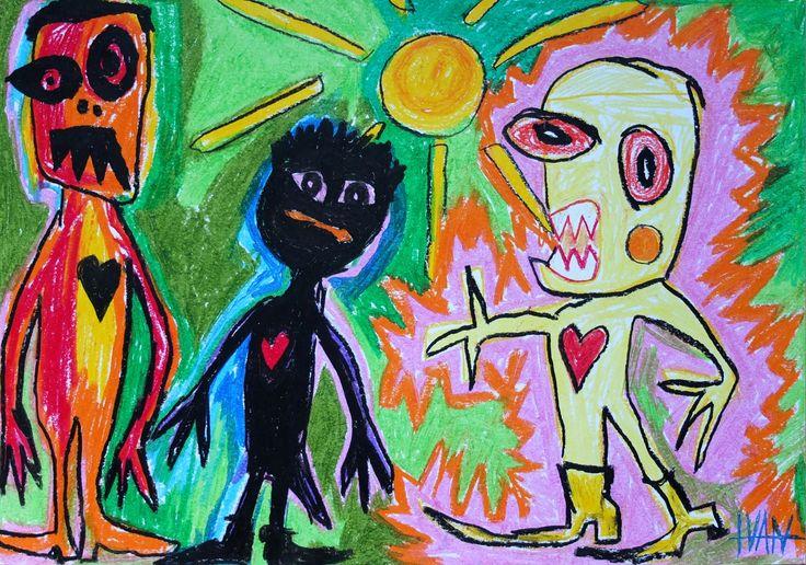 """""""The black Heart"""" / """"Das schwarze Herz"""" Outsider Art - Außenseiter/Naive Kunst - Ivan Summersky"""