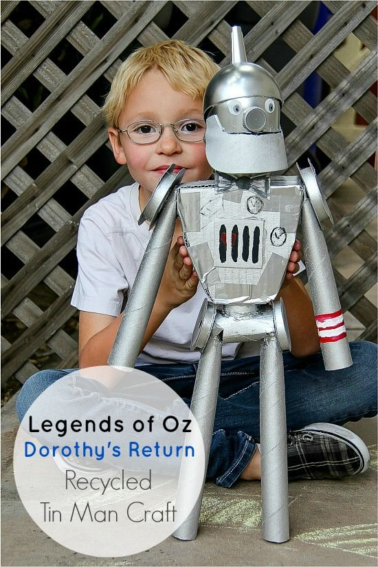 Legends of Oz: Dorothy's Return - Recycled Tin Man Craft #LegendsOfOz