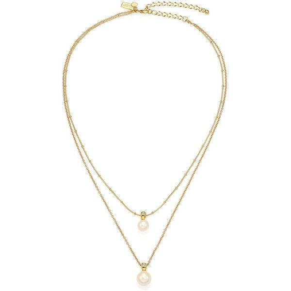 Kate Spade New York Pearly Delight Double Faux Pearl Pendant Necklace found on Polyvore featuring jewelry, necklaces, apparel & accessories, gold, layered pendant necklace, pendant chain necklace, chain jewelry, fake jewelry and simulated pearl necklace