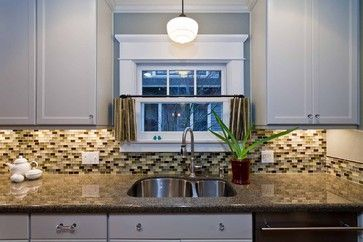 I love this backsplash and granite color together! So pretty!!