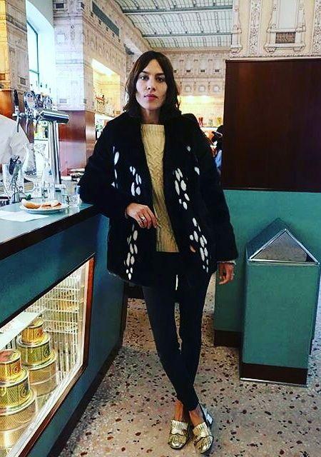 Alexa Chung - new shorter, darker bob & gold shoes! NYC, Feb 2016.