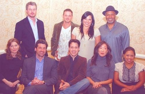"Grey's Anatomy cast. Eric Dane (Mark ""McSteamy"" Sloan), Justin Chambers (Alex Karev), Sara Ramirez (Callie Torres), James Pickens Jr (Richard Webber), Ellen Pompeo (Meredith Grey), Patrick Dempsey (Derek ""McDreamy"" Shepherd), T. R. Knight (George O'Malley), Sandra Oh (Cristina Yang) & Chandra Wilson (Miranda Bailey)."