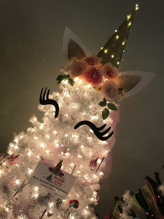 White Unicorn Tree Christmas Unicorn Christmas Tree