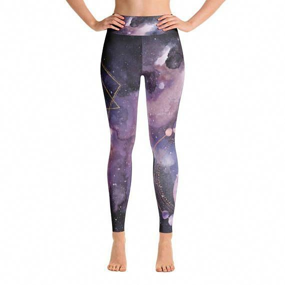 91a25974bf394 Purple Outer Space Yoga Pants with Sacred Geometry Design #yogapants ...