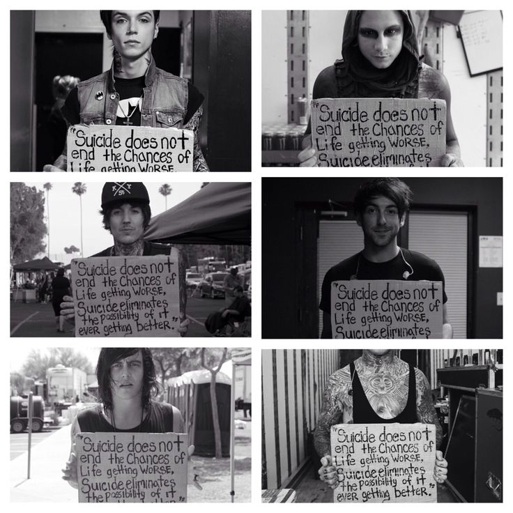 """Project Suicide Sign."" This is just so so amazing; these people mean so much to me.  ❤️ From left to right: Andy Biersack of Black Veil Brides, Josh Banz of Motionless In White, Oli Skyes of Bring Me The Horizon, Alex Gaskarth of All Time Low, Kellin Quinn of Sleeping With Sirens, and Ronnie Radke of Falling In Reverse. ❤️❤️"