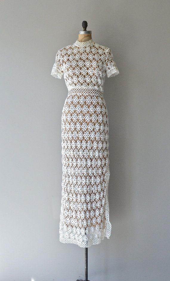 dress vintage 1970s crochet by DearGolden