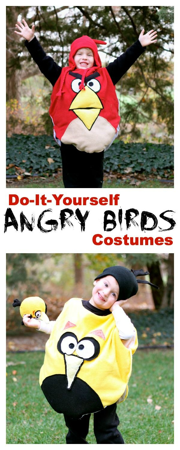 DIY Angry Bird Costumes....use Velcro sticky balls as a game in same colour as costumes