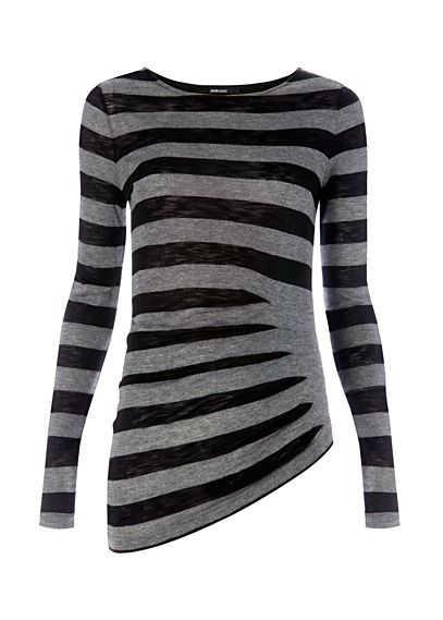 grey and black striped top