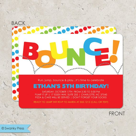 Bounce House Birthday Party Invitation, Pump It Up Party, Trampoline Party Invitation on Etsy, $20.00