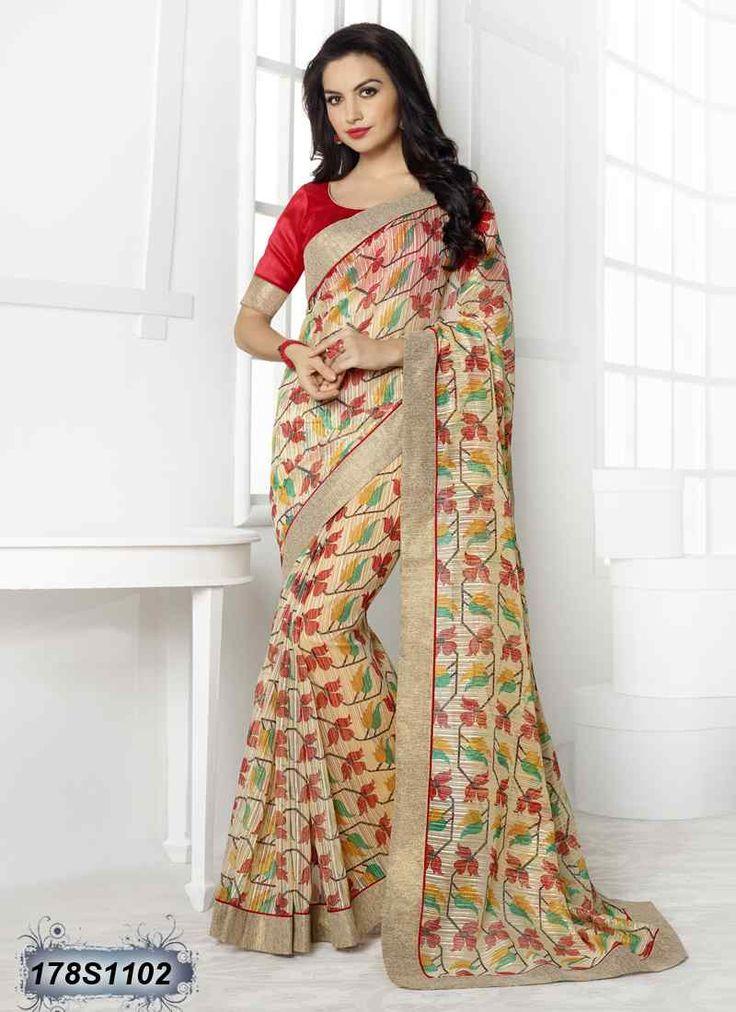 Splendiferous Beige and Multi Coloured Linen Casual saree