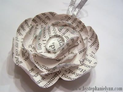 Under The Table and Dreaming: Recycled Book Page Flower Ornament {No.3} made from paper & a jar lid