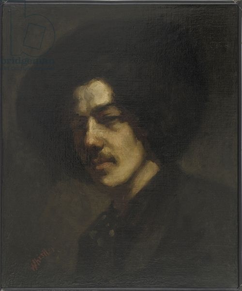 Portrait of Whistler with a Hat, 1857-59 (oil on canvas) by James Abbott McNeill Whistler / Freer Gallery of Art, Smithsonian Institution, USA