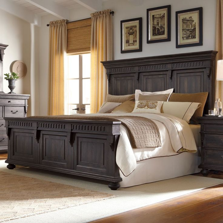 Kentshire Wood Panel Bed in Charcoal