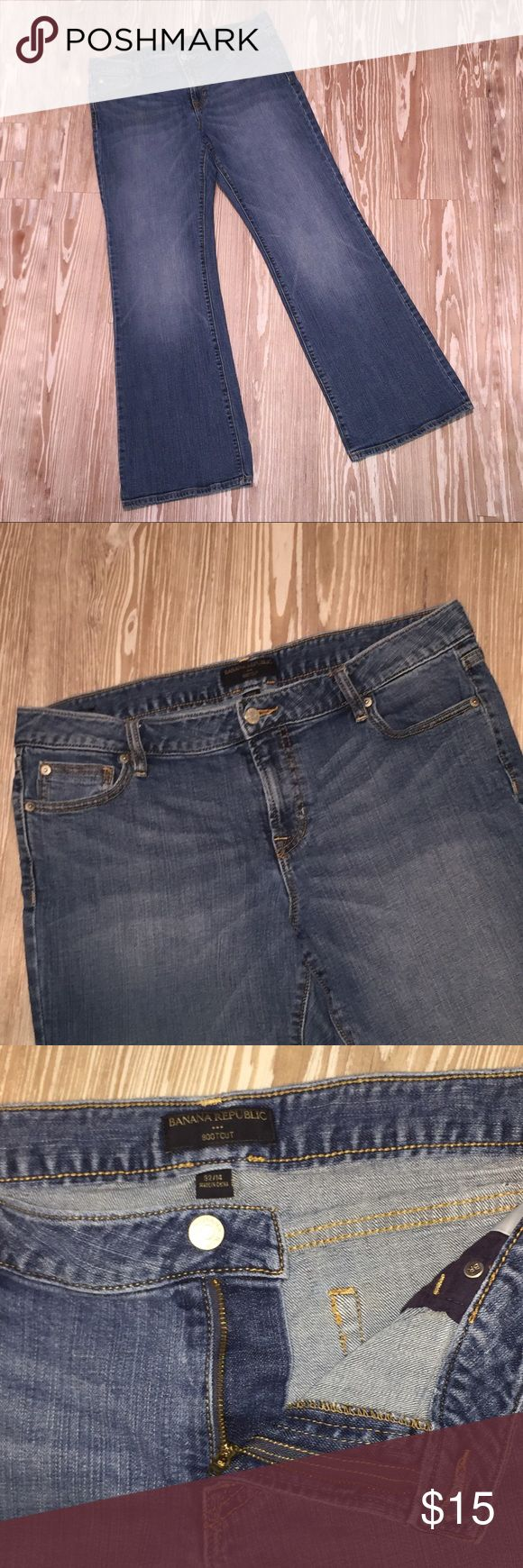 Banana Republic 32/14 Bootcut Jeans Stretch Used, in good condition, Banana Republic jeans in size 32/14. Bootcut. Medium wash. Distressed. Stretch. Belt loops in tact. No holes in pockets. Button and zipper work. Some general wear.  Made in China 99% Cotton 1% Spandex Waist 18 inches Hips 19 inches Rise 10 inches Out seam 41 inches Inseam 32 inches Hem 11 inches AD Banana Republic Jeans Boot Cut