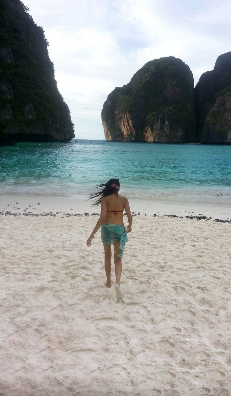 "Maya Bay, Koh Phi Phi Leh - Thailand. This beach was made famous by ""The Beach"" movie starring Leonardo DiCaprio. Can you believe we had this beach to just ourselves?"