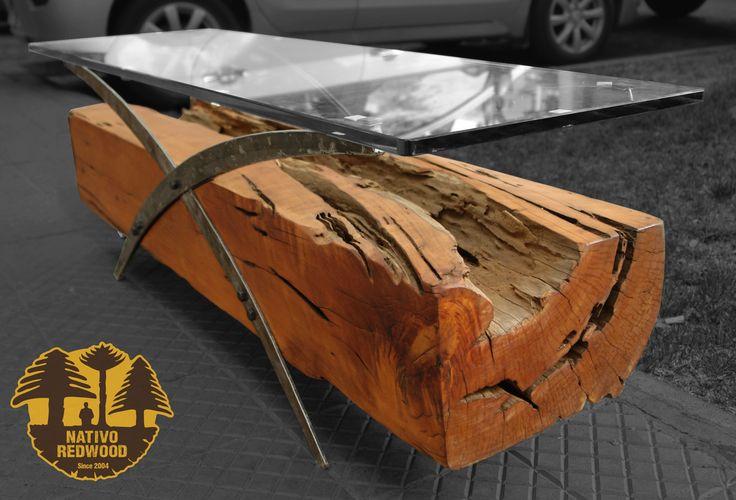 """Nativo Red Wood. Mesa de centro linea """"Natural Wood"""" con base de madero de una pieza de Roble Rústico con soportes originales de fierro forjado y cubierta de cristal de 0.40x1.40x15 mm espesor. www.facebook.com/nativoredwoodsa"""
