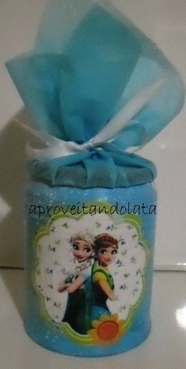 Lata decorada frozen www.facebook.com/aproveitandolata instagram @anadaslatinhas anadaslatinhas@hotmail.com