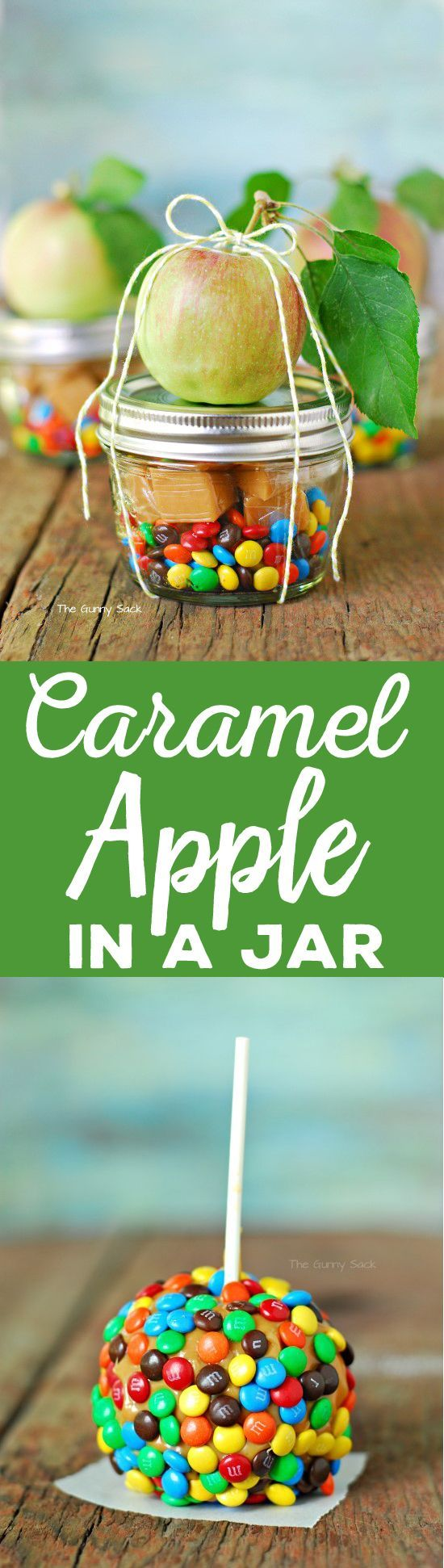A dessert in a jar is so much fun and is a great fall party idea. This Caramel Apple In A Jar can even be given as a gift or party favor. (Fall Bake Creative)