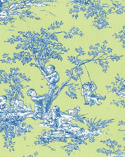 blue and green toile