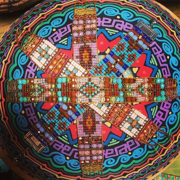 Loom bracelets, by Adonnah Langer. #howitsmade #studiotour #adonnahlanger #chilirose #loomed #beaded #bracelets #sundancejewelry #sundanceartisan #artisan #handmade #handpainted #bowl #madeinusa #jewelry #howtosantafe #santafe #nm #usa #nmtrue #peyotebird