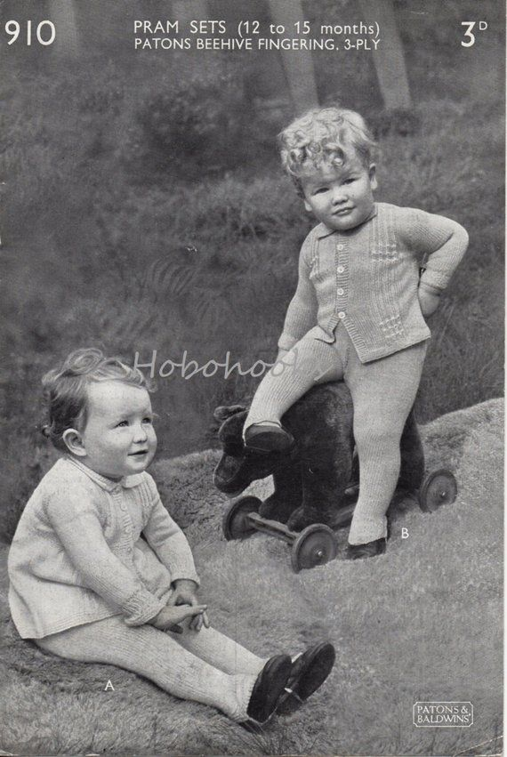 e708615a7 B3002 Baby pram set coat leggings baby boy baby girl vintage 1930s ...
