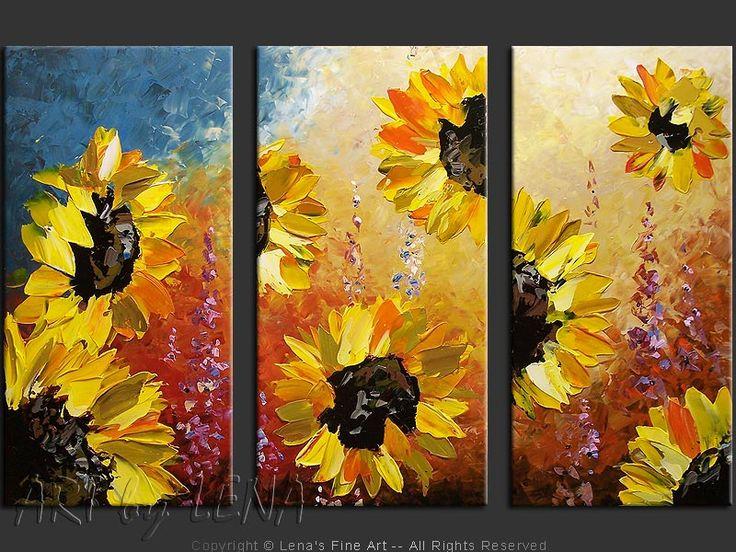 "Original art for sale by the artist. Canvas painting ""Golden Sunflowers"" by Canadian artist Lena Karpinsky."