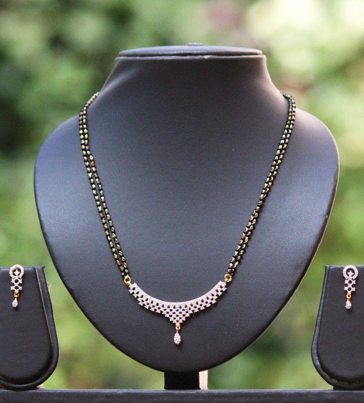 American Diamond Mangalsutra set with earrings   India1001.com