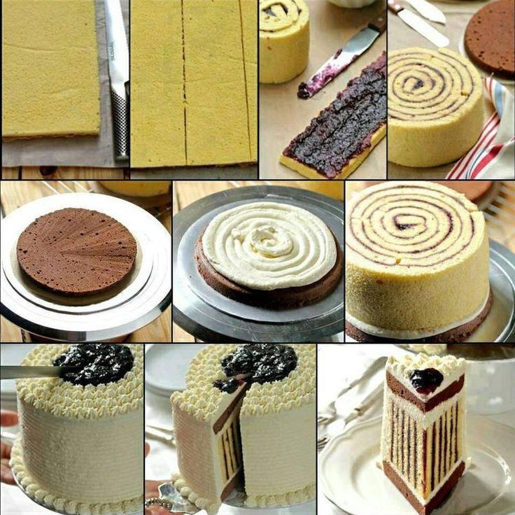 Bekijk de foto van Zeyneb met als titel zo krijg je een gestreepte cake en andere inspirerende plaatjes op Welke.nl.
