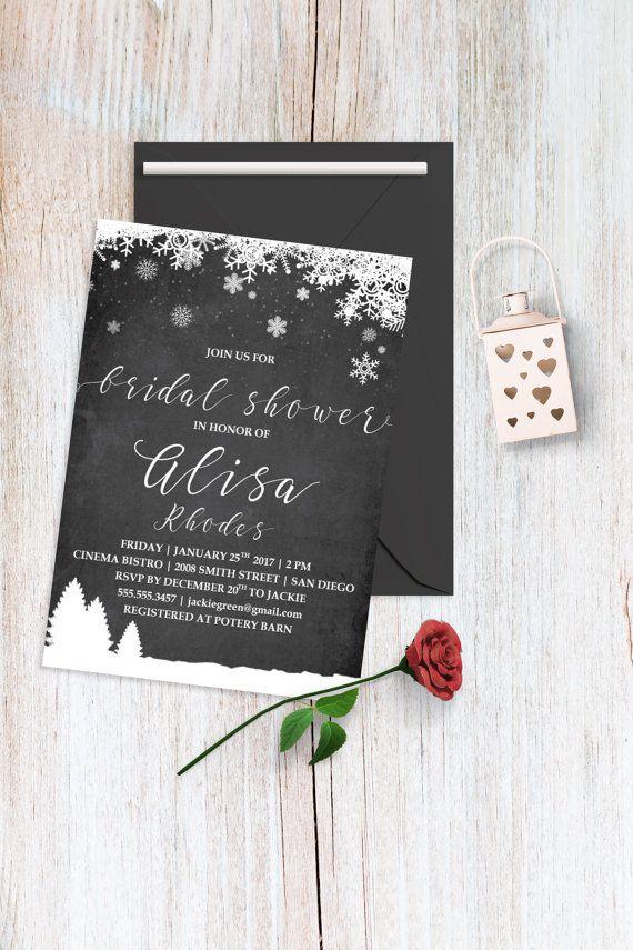 creative bridal shower invitation ideas%0A Winter Bridal Shower Invitations Christmas Bridal by BohemePrints  winter   bridal  shower  christmas
