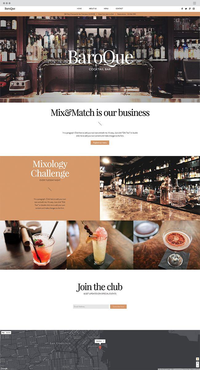 Cocktail Bar Website Template