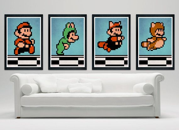 Super Mario bros. Costume Line Up  custom by SPACEBARdesigns, $49.00    These would go great in our loft where the kids hang out!
