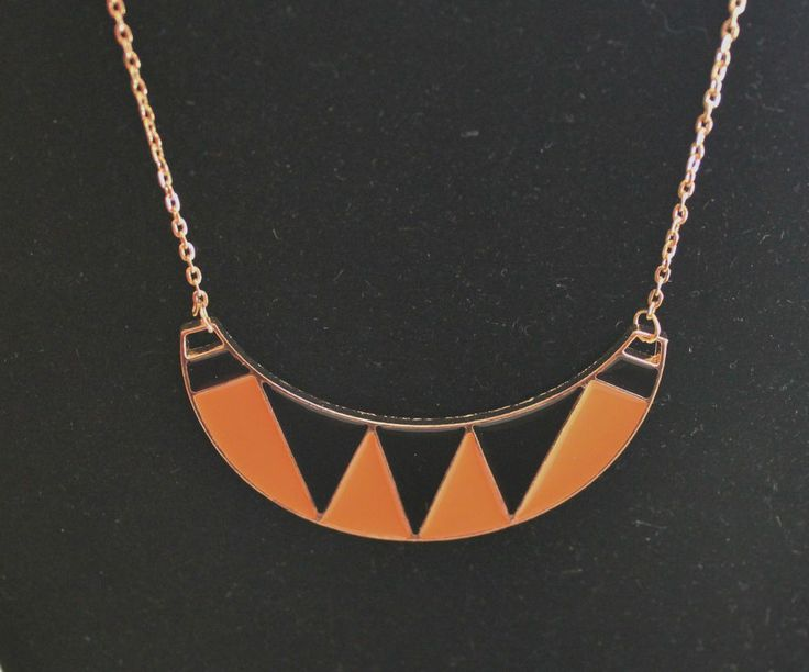 Orange, Black & Gold Necklace