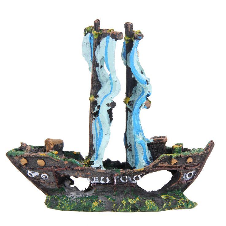 13*12*4cm Resin Material Beautiful Aquarium Ornament Wreck Sailing Boat Sunk Ship Destroyer Fish Tank Aquarium Decoration