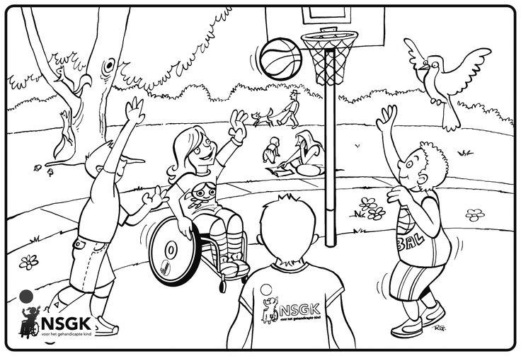 Dit vind ik een goede kleurplaat om het met kinderen te hebben over sport en spel voor mensen met een beperking.