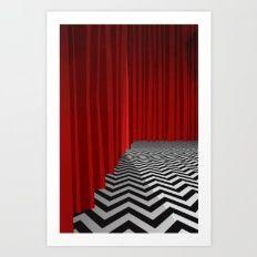 Твин Пикс, черный вигвам с Шевроном пол и красные шторы Арт Принт