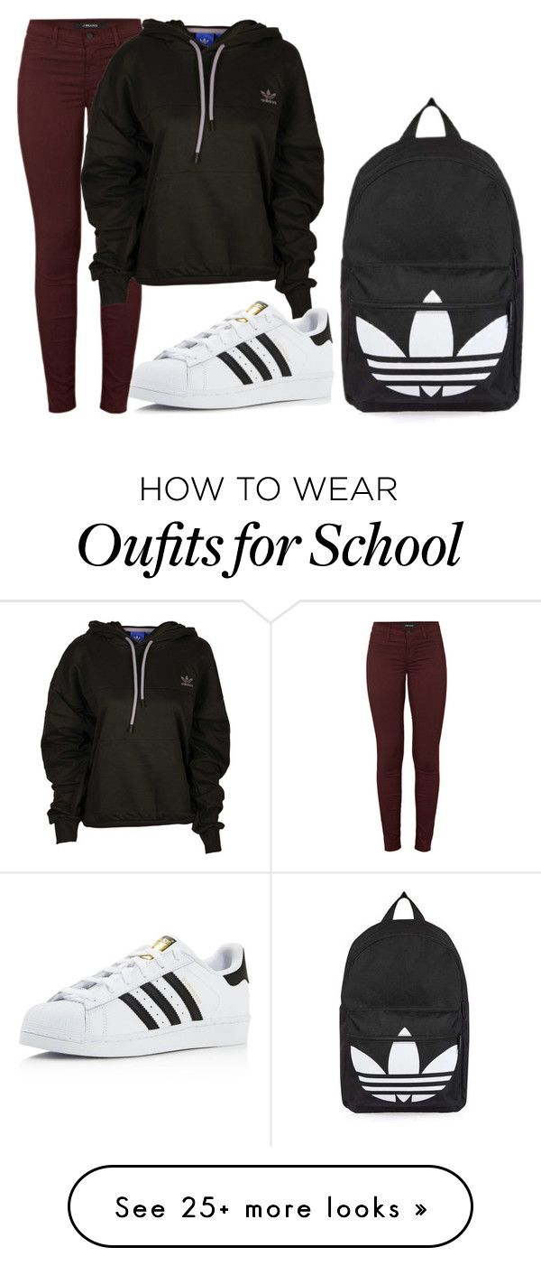 """""""Normal school day"""" by fashionlover4562 on Polyvore featuring J Brand, adidas and Topshop"""