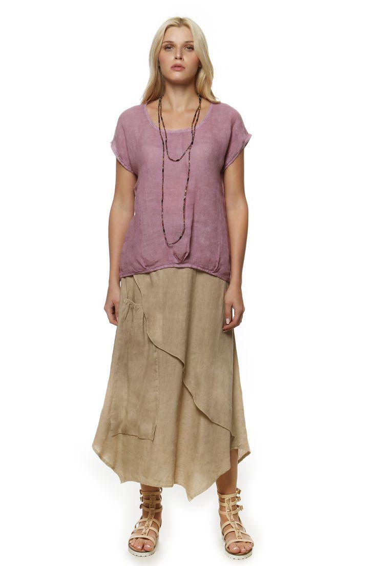 Linen Gauze Blouse 275 and Linen Skirt 687 http://eshop.hariscotton.gr/