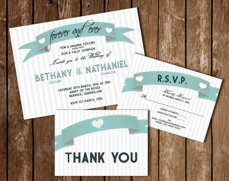 "Wedding Invitation Kit Blue Stripes 5X7"" & 4X6"""
