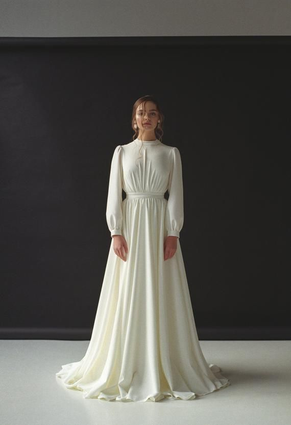 Lengthy sleeve wedding ceremony gown Modest boho wedding ceremony gown Minimalist bridal robe Fashionable wedding ceremony gown for winter Crepe ivory wedding ceremony robe VESTA