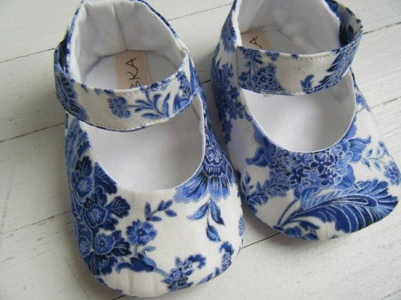 Blue And White Floral Mary Jane Shoe For Your Baby by BobkaBaby, $35.00