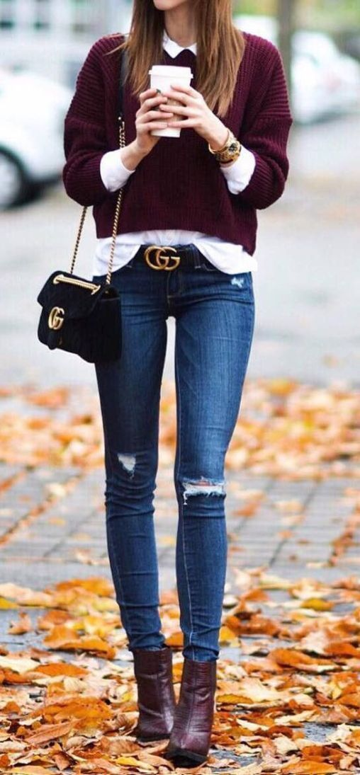 e961424d03e This fall and winter sweater and gucci belt outfit is so cute!