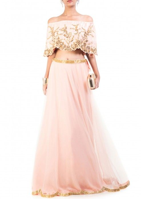 Blush pink gilded cape lehenga