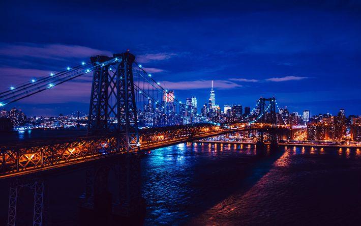 Download wallpapers Brooklyn Bridge, 4k, blue illumination, nghtscapes, New York, Manhattan, America, USA