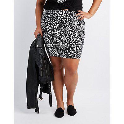 Plus Size Black Leopard Bodycon Mini Skirt - Size 4X