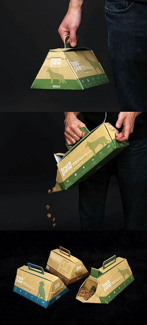 This easy to carry packaging is a unique way to bring home your pet's favorite food, with this no mess way of feeding your dog or cat, no more using your hand to pick up the food. you will never have to touch it again. plus it seals closed so the food is kept fresh.