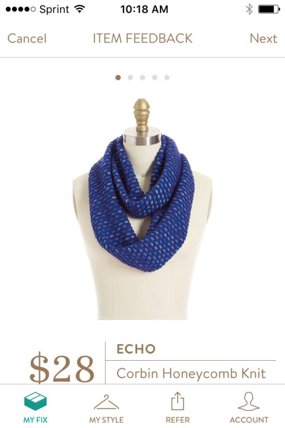 Fix #1 - Echo Corbin Honeycomb Knit Infinity Scarf that I received in purple/pink - really cute and warm for the Winter months. https://www.stitchfix.com/referral/7089389