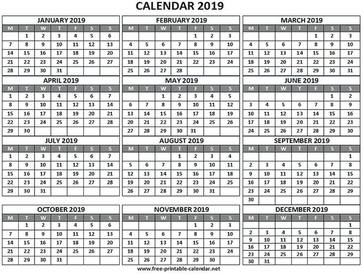 2019 calendar with week starting on monday  a4 size  landscape layout