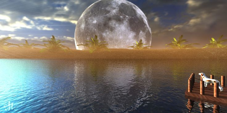 Moon on the Horizon rendered in Bryce 3D using a Hdri from this pack